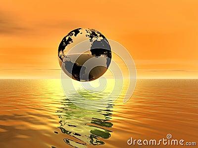 Golden sunset . Planet Earth