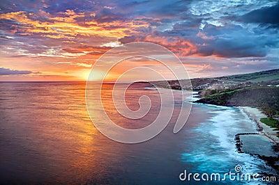 Golden sunset on Reunion