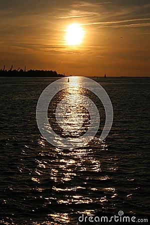 Golden Sunset on River