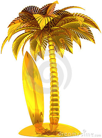 Golden surfboard palm tree and island