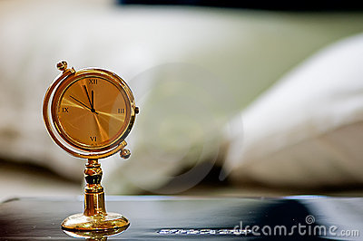 A golden table clock