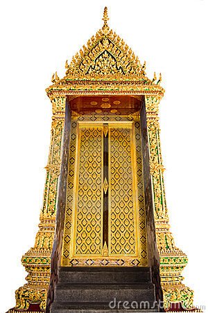 Golden temple door on white isolate