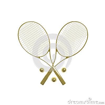 Golden tennis rackets