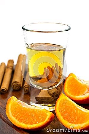 Golden tequila shot