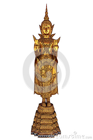 Free Golden Thai Buddha Standing On White Background Royalty Free Stock Images - 63267289