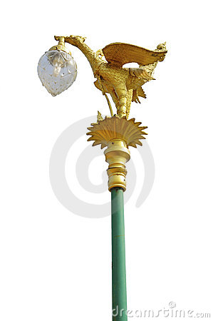 Golden Thai street lamp isolated on white