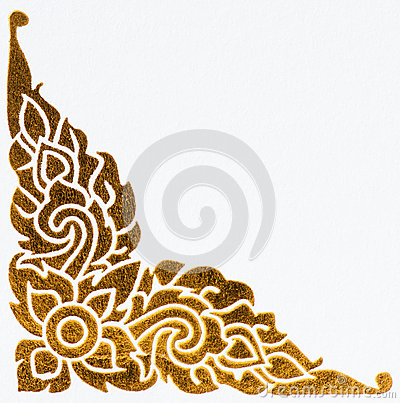 Free Golden Thai Style Pattern On Wall Stock Images - 25250634