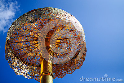 Golden Tiered Umbrella