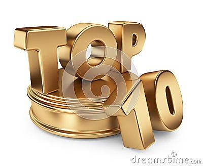 Golden top 10 on podium. 3D icon