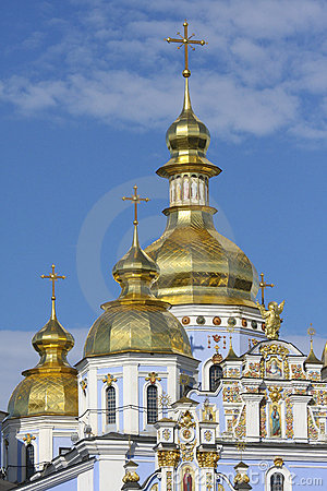 Golden towers of Orthodox church in Kiev, Ukraine