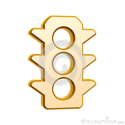 Golden traffic light symbol