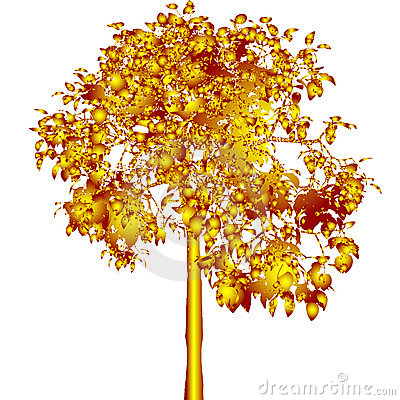 Golden tree. Vector.