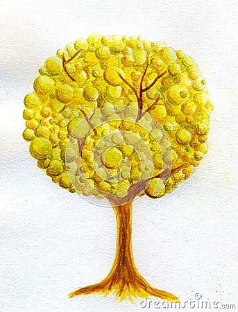 Golden tree - watercolor