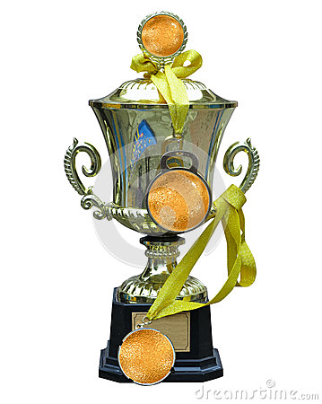 Golden trophy cup with medal and ribbon isolated