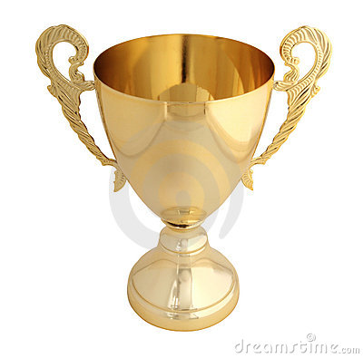 Golden trophy isolated