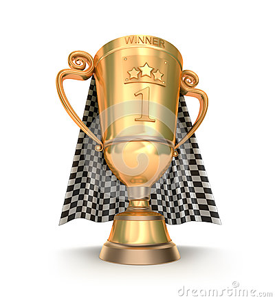 Golden trophy and racing flag