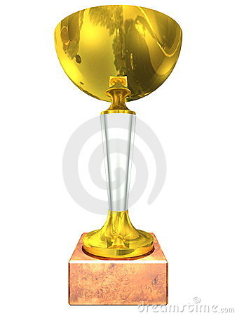 Golden trophy on a white