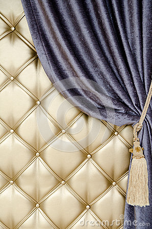 Golden upholstery velvet curtain background