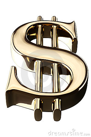 Golden US dollar sign bottom view isolated