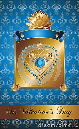 Golden Valentine background with diamond heart.