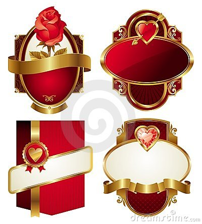 Free Golden Valentines Frames Royalty Free Stock Photo - 12605105