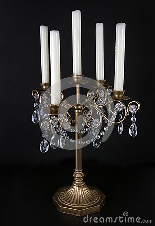 Golden vintage candle stand