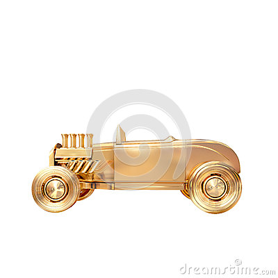 Free Golden Vintage Car On White Background Royalty Free Stock Photography - 51635277