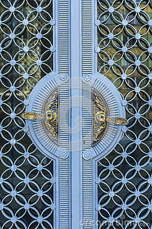 Free Golden Vintage Door Handles On Glass And Blue Metal Decorative Doors In Bulgarian Castle Royalty Free Stock Photography - 50264487