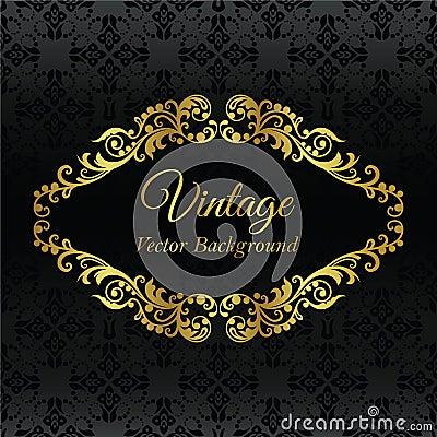 Golden vintage frame on black seamless pattern