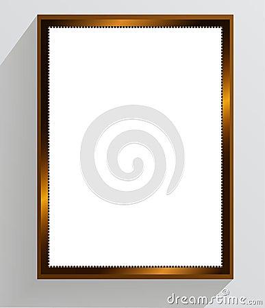 Golden vintage frame on a white background.