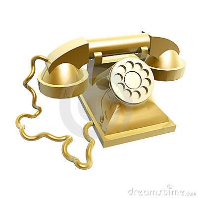 Golden vintage telephone