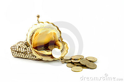 Golden wallet and coins