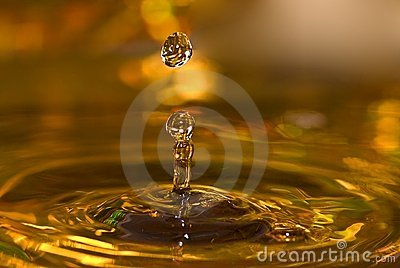 Golden water drops