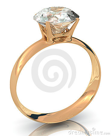 Golden wedding ring with big diamond