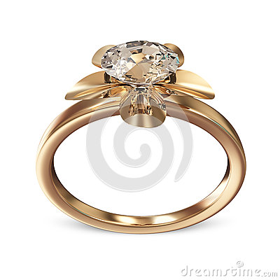 Golden Wedding Ring with Diamond