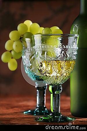 Golden wine in old-time goblet