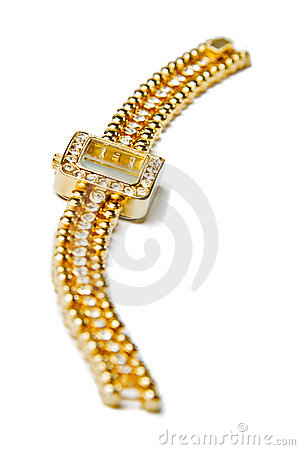 Golden wristwatch with gems