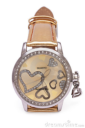 Golden Wristwatches with Hearts isolated
