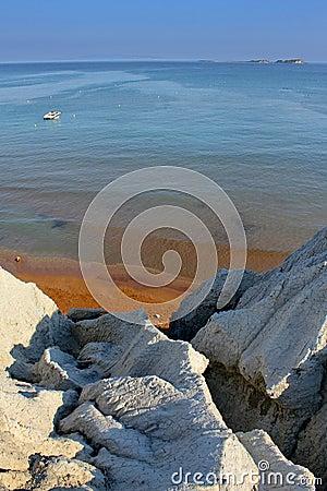 Golden xi beach in kefalonia island in greece