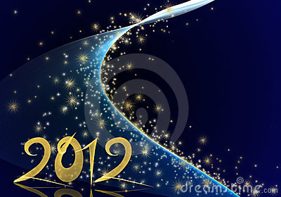 Golden year 2012 on blue starry background