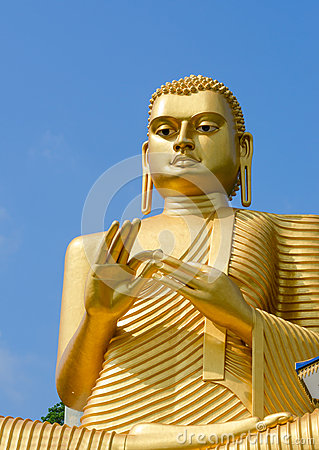 Golden yellow Buddha statue