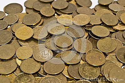 Golden yellow coins