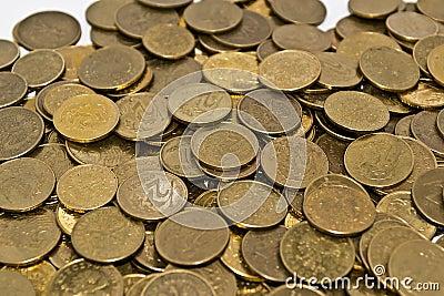 Golden yellow coins