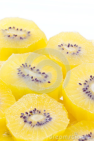 Golden Yellow Kiwi Fruit Sliced.