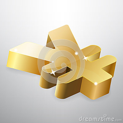 Golden yen sign
