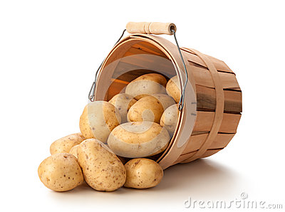 Golden Yukon Potatoes in a Basket