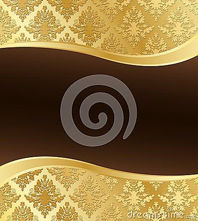 goldene damast tapete mit welle copyspace stockfoto bild 22479020. Black Bedroom Furniture Sets. Home Design Ideas