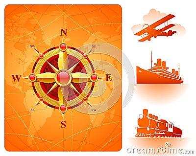 Goldene Kompaßrose, Weltkarte u. Retro- Transport