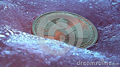 Goldene Monero-Münze, digitale Online-Währung, eingefroren in blauem Eis Konzept der Blockkette, Crypto-Marktcrash Tiefgefrorene  stock video footage