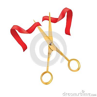 goldene scheren schnitten das rote band das symbol des. Black Bedroom Furniture Sets. Home Design Ideas